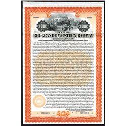 Rio Grande Western Railway Co. 1899 Specimen Bond.