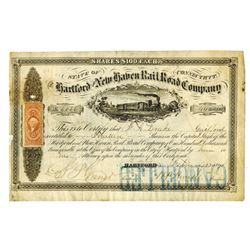 Hartford and New Haven Rail Road Co., 1871 Issued Stock Certificate.