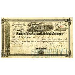 Hartford and New Haven Rail Road Co., 1872 Issued Stock Certificate.
