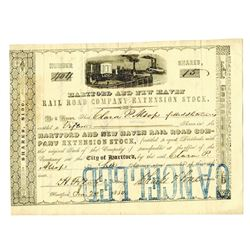Hartford and New Haven Rail Road Co.,1850 Extension Stock Certificate.