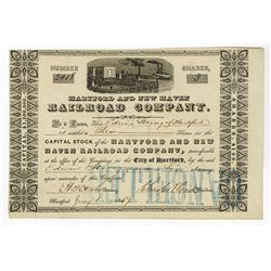 Hartford and New Haven Railroad Co., 1854 Issued Stock Certificate.