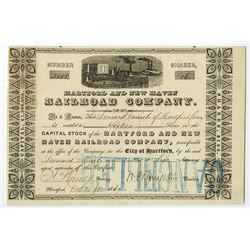 Hartford and New Haven Railroad Co., 1864 Issued Stock Certificate.