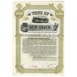 "Town of New Haven, 1889 ""Non-Taxable Air Line Railroad"" Specimen Bond"