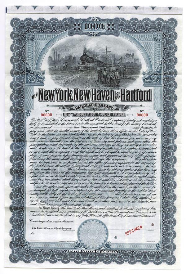 New York New Haven And Hartford Railroad Co 1906 Specimen Bond