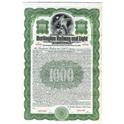 Burlington Railway and Light Co., 1912 Specimen Bond
