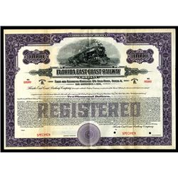 Florida East Coast Railway Co., 1924 Specimen Bond.