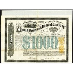 Macon & Brunswick Rail Road Co., 1870 Issued Bond