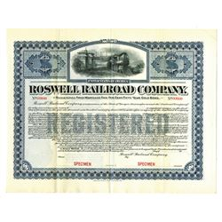 Roswell Railroad Co., 1903, $- Specimen Bond.