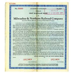 Milwaukee & Northern Railroad Co., 1934 Specimen Bond