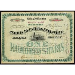Peoria, Decatur & Evansville Railway 1893 Specimen Bond.