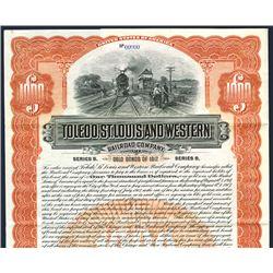 Toledo, St. Louis and Western Railroad Co. 1907. Specimen Bond.