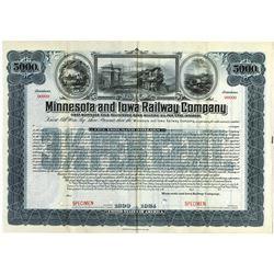Minnesota and Iowa Railway Co., 1924 Specimen Bond
