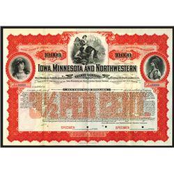 Iowa, Minnesota and Northwestern Railway Co., 1900, $10000 Specimen Bond.