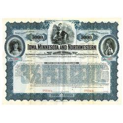Iowa, Minnesota and Northwestern Railway Co., ca.1900-1920 Specimen Bond