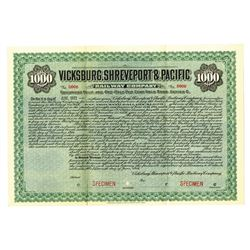Vicksburg, Shreveport & Pacific Railway Co., 1928 Specimen Bond