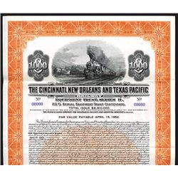 Cincinnati, New Orleans and Texas Pacific Railway Equipment Trust. Specimen Bond.