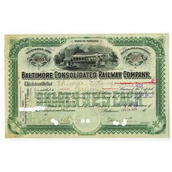 Baltimore Consolidated Railway Co., 1899 Issued Stock Certificate