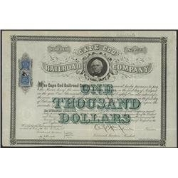 Cape Cod Railroad Co., 1871 Issued Bond.