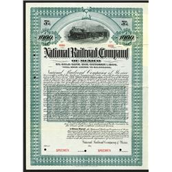 National Railroad Co. of Mexico, 1903 Specimen Bond.