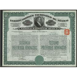 National Railways of Mexico, 1907 Issued Stock Certificate.