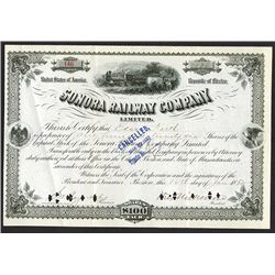 Sonora Railway Co LTD, 1882 Canceled Stock Certificate.