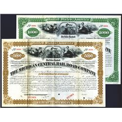 Michigan Central Railroad Co., ca.1879 Specimen Bond,   Michigan. $5000 Specimen 5% Registered Bond.