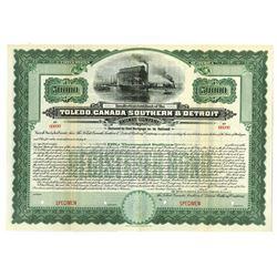 Toledo, Canada Southern & Detroit Railway Co., 1906 Specimen Bond