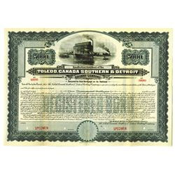 Toledo, Canada, Southern and Detroit Railway Co., 1906 Bond.