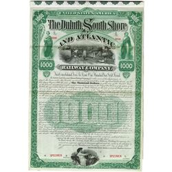 Duluth South Shore and Atlantic Railway Co., 1890 Specimen Bond
