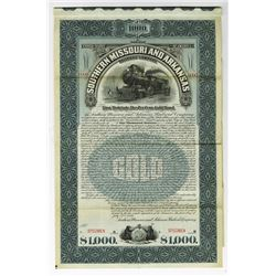 Southern Missouri and Arkansas Railroad Co.,  1899 Specimen Bond.