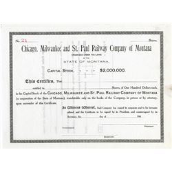 Chicago, Milwaukee and St. Paul Railway Co. of Montana, ca.1900-1910 Specimen Stock Certificate