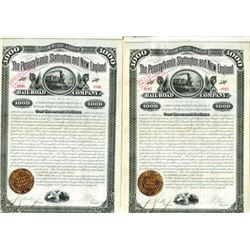 Pennsylvania, Slatington and New England Rail Road Co. 1882 Pair of Bonds
