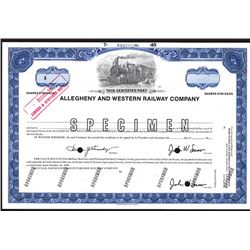 Allegheny and Western Railway Co., 1985 Specimen Stock Certificate.