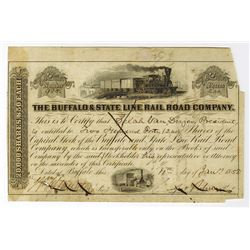 Buffalo & State Line Rail Road Co., 1858 Issued Stock Certificate