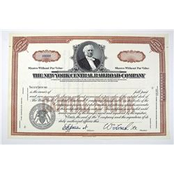 New York Central Railroad Co. ca. 1900-1930 Specimen Stock Certificate.