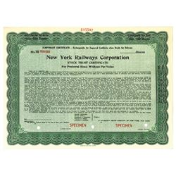 New York Railways Corp., 1924 Specimen Stock Certificate