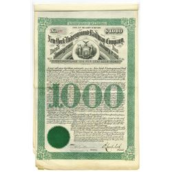 New York Underground Railway Company, 1890 Bond.