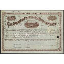 Sixth Avenue Railroad Co., 1919 Issued Stock Certificate.