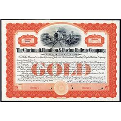 Cincinnati, Hamilton & Dayton Railway Co. Specimen Bond.