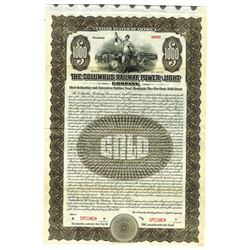 Columbus Railway, Power and Light Co., 1915 Specimen Bond