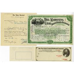 Mahoning Coal Rail Road Co. 1926. Plus Check Specimen.