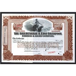 Steubenville & East Liverpool Railway & Light Co., 190x Specimen Stock Certificate.