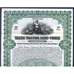 Toledo Traction, Light and Power Co. 1913. Specimen Bond.
