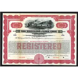Wheeling and Lake Erie Railway Co., 1917 Specimen Registered Bond.