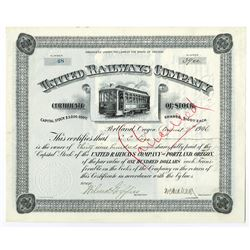 United Railways Co., 1906 Stock Certificate