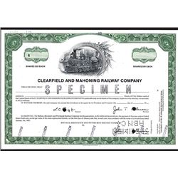 Clearfield and Mahoning Railway Co., Specimen Stock Certificate.