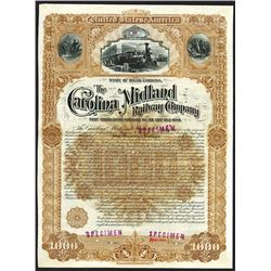 Carolina Midland Railway Co., 1891 Specimen Bond.