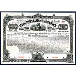 Memphis, Selma and Brunswick Railroad Co., Specimen Bond.