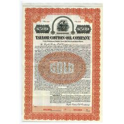 Taylor Cotton Oil Co., 1909 Specimen Bond