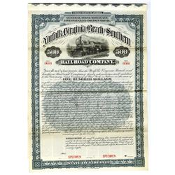 Norfolk, Virginia Beach and Southern Rail Road Co., 1898 Specimen Bond